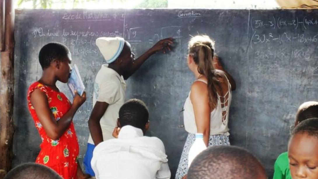 A volunteer teaching math in Togo
